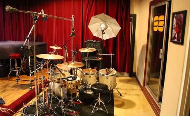 Studio enregistrement prise batterie