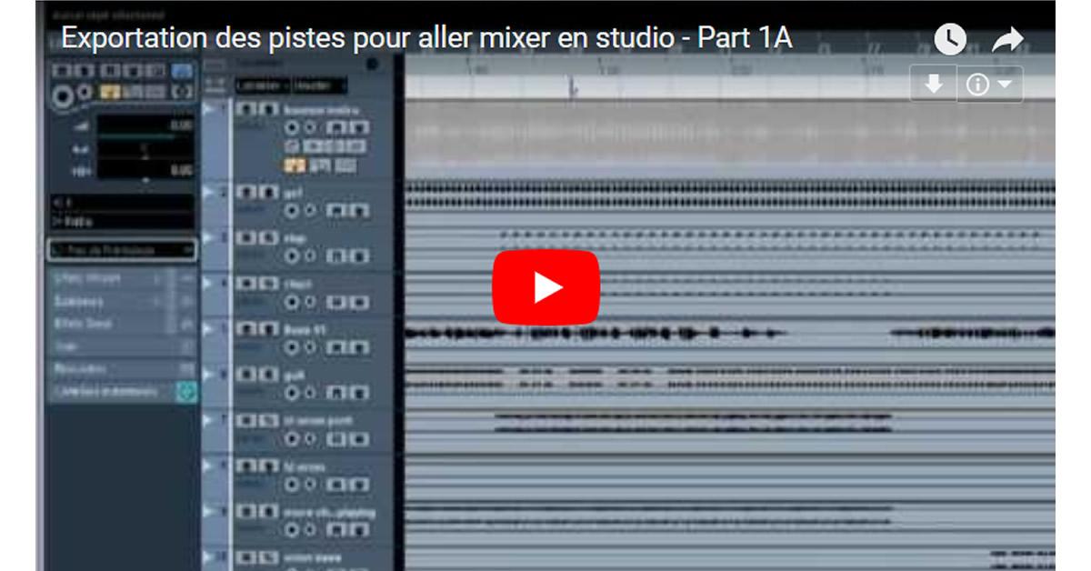 Exportation des pistes avant d'aller mixer en studio